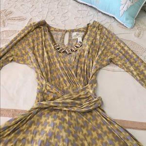 Anthropologie Deletta XS Wrap dress tie 3/4 sleeve
